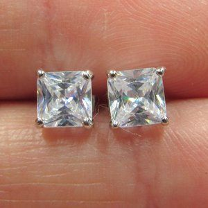 Sterling Bright Square Cubic Zirconia Earrings
